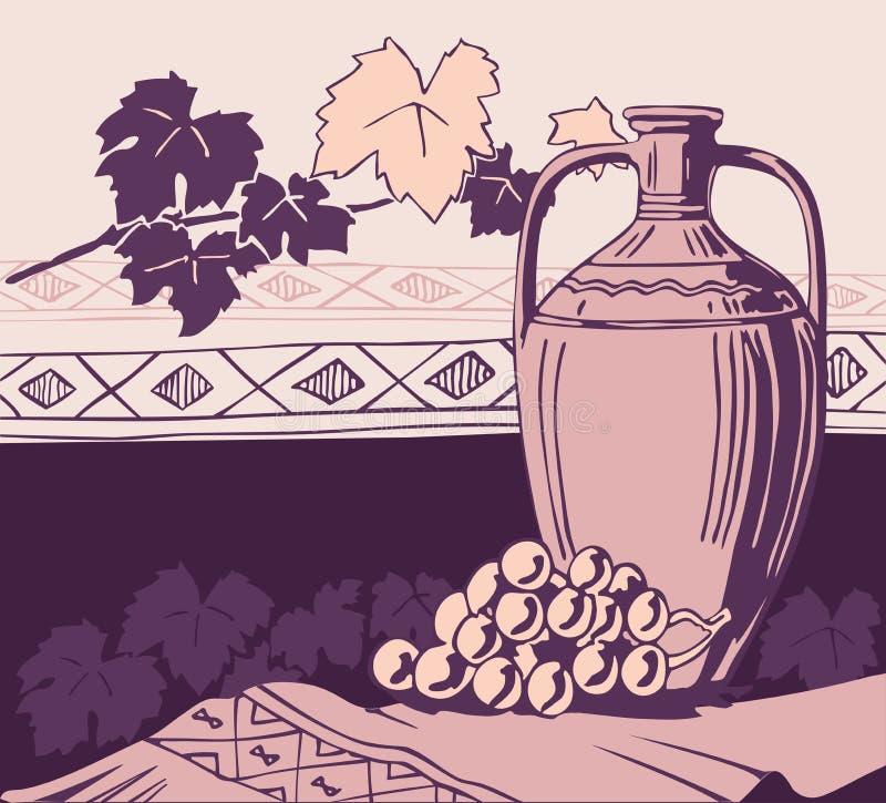 Amphora et vin antiques illustration stock