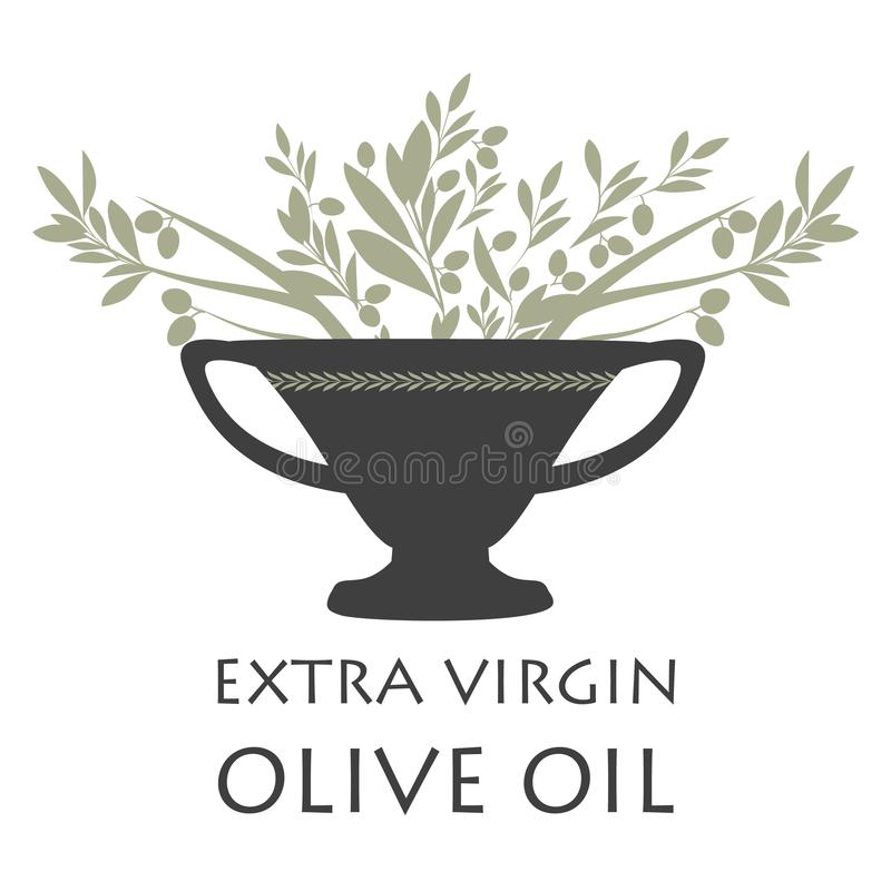 Amphora with olive branches. Symbol of the Mediterranean culture. Isolated on white background stock illustration