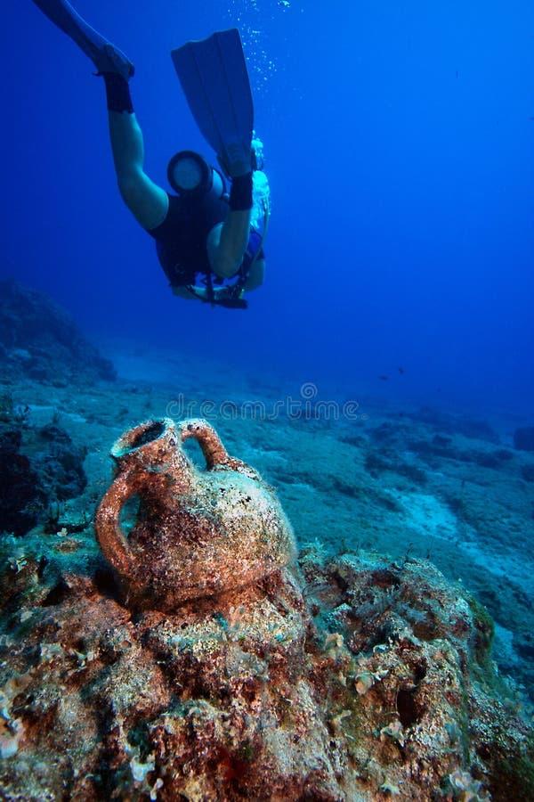 Amphora Unterwasser lizenzfreie stockfotos