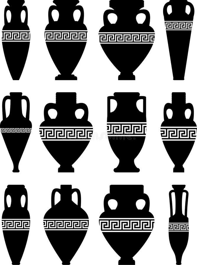 Amphorae antiguo y floreros ilustración del vector