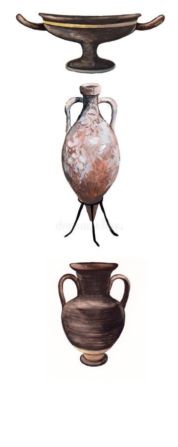 Amphorae et vases Rome antique illustration libre de droits