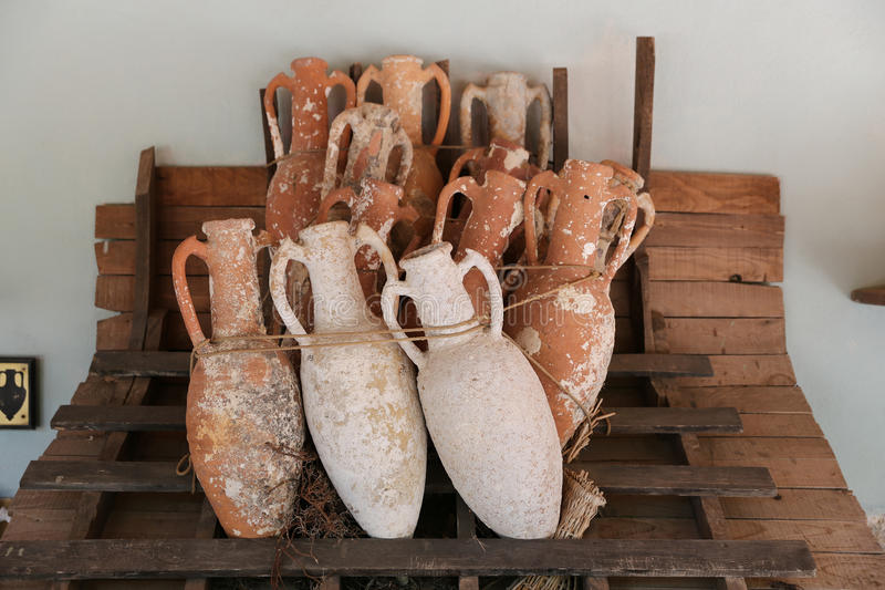 Amphoras in Bodrum Castle royalty free stock images