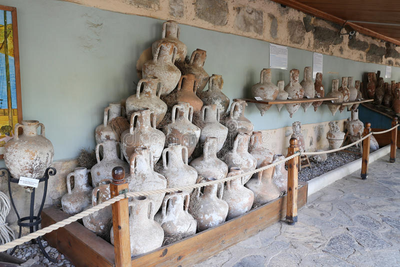 Amphoras in Bodrum Castle royalty free stock photo