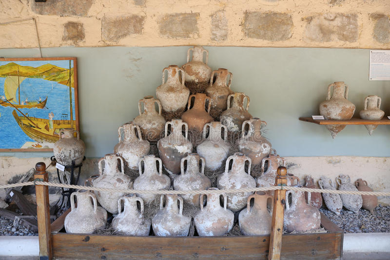 Amphoras in Bodrum Castle, Turkey royalty free stock photo