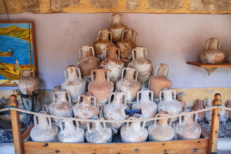 Amphoras in Bodrum fortress royalty free stock images