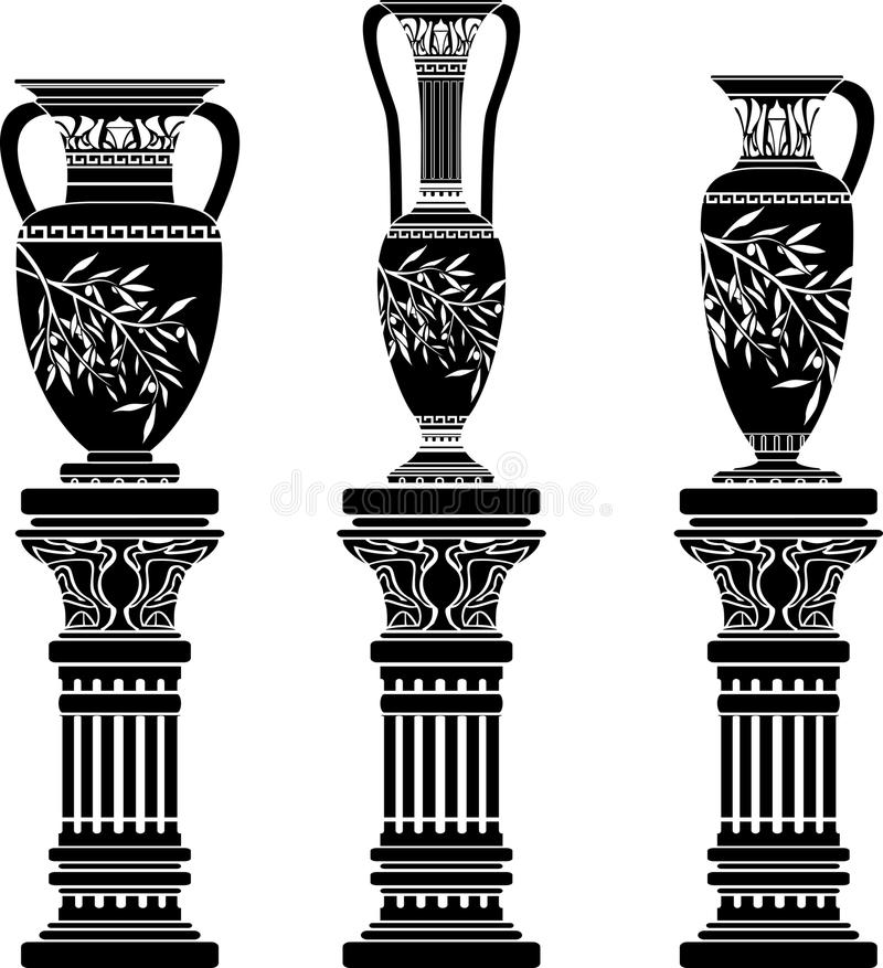 Download Amphoras and jug stock vector. Image of classical, column - 17436174