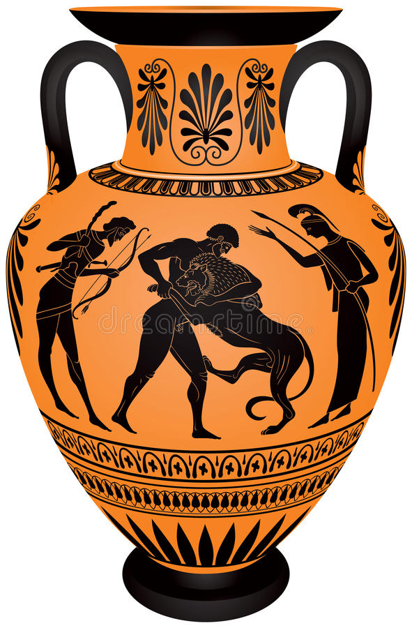 Amphore Hercules Fighting The Nemean Lion vektor abbildung