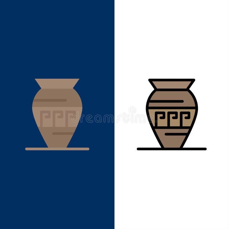Amphore, pot antique, Emojis, pot, icônes de la Grèce L'appartement et la ligne icône remplie ont placé le fond bleu de vecteur illustration de vecteur
