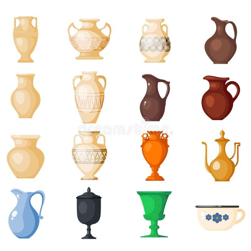 Amphorische altgriechische Vasen des Amphorevektors und Symbole des Altertums- und Griechenland-Illustrationssatzes lokalisiert a stock abbildung