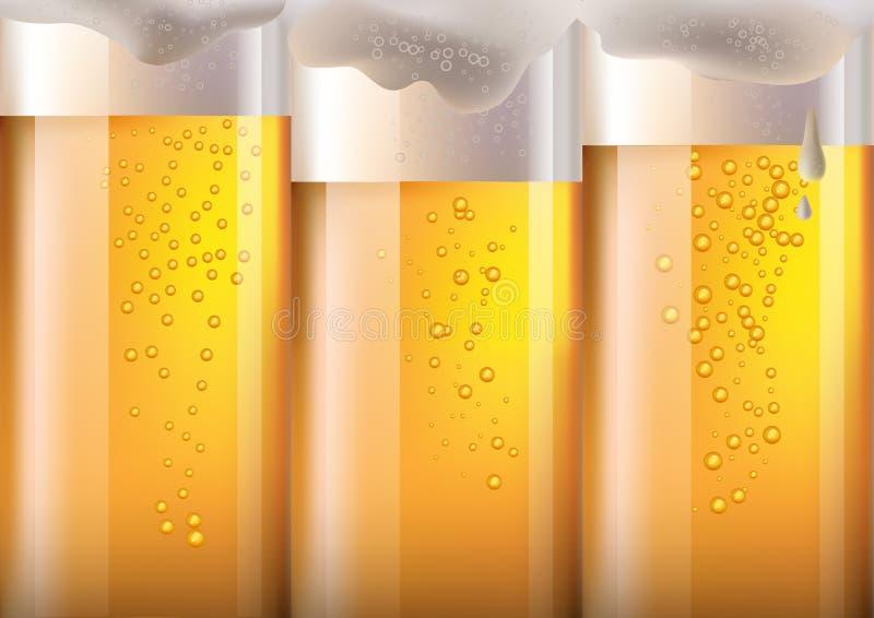 Ampia birra di orizzonte nel fondo di vetro per Oktoberfest, Maglia di gradiente illustrazione di stock