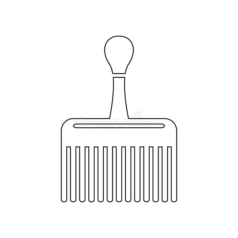 ampia icona del pettine Elemento del barbiere per il concetto e l'icona mobili dei apps di web Profilo, linea sottile icona per p illustrazione di stock