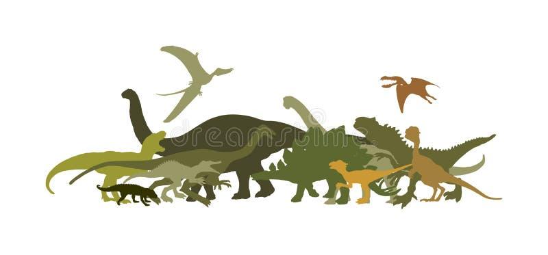 Ampia raccolta dei dinosauri Siluetta di vettore di T Rex isolata su fondo bianco Simbolo dell'ombra di tirannosauro Era giurassi illustrazione vettoriale
