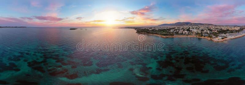 Ampia vista aerea panoramica di Atene, la Grecia immagine stock libera da diritti