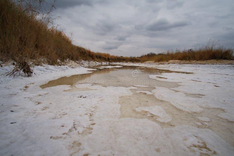 Ampia vista delle pianure del sale di Kissama, bengo immagini stock libere da diritti
