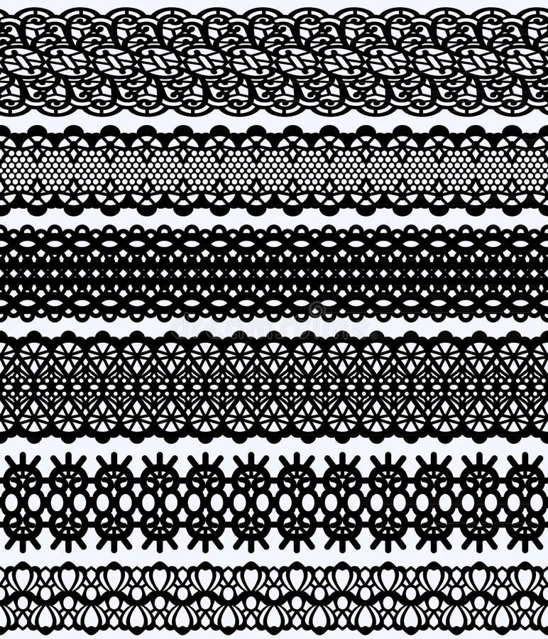 Ampio insieme dei confini del pizzo di Blockprint Elementi neri di progettazione isolati sul modello senza cuciture del fondo bia illustrazione di stock