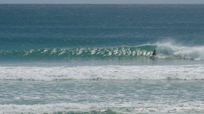Ampio punto di vista di un surfista di kirra sul loro rovescio immagine stock