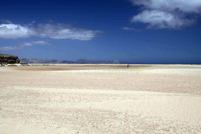 Ampio tideland senza fine nella laguna di Gorriones, Playa de Sotavento, calma della Costa, Fuerteventura, Spagna fotografie stock libere da diritti