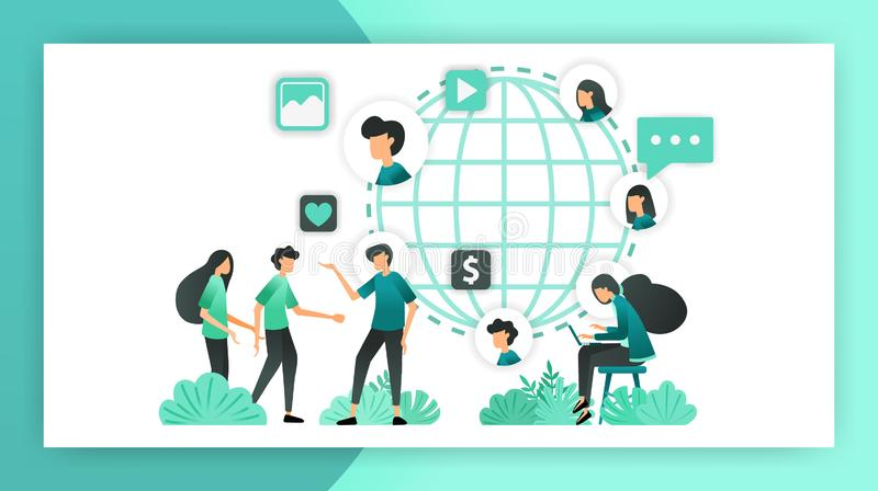 Amplíe el márketing de la red familiarícese con mucha gente de todas partes del mundo influencia separada a comercializar y a pro ilustración del vector