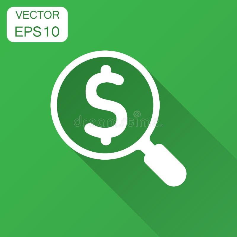 Amplie o vidro com ícone do sinal de dólar no estilo liso Lupa, dinheiro ilustração stock