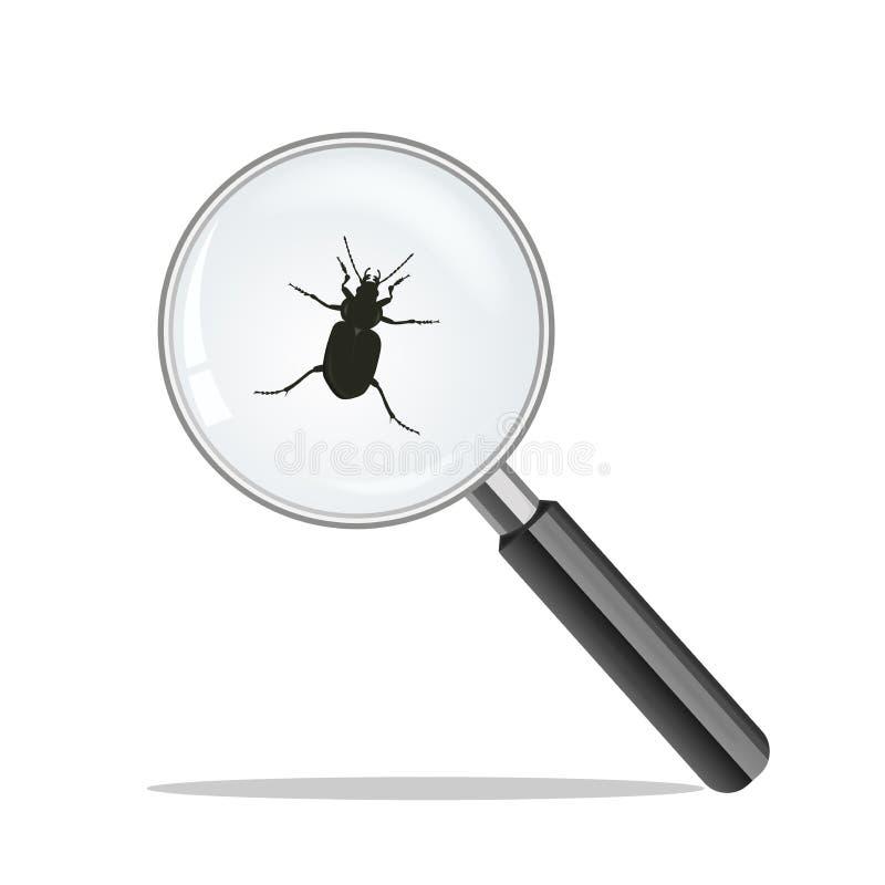 Amplie o vidro e o erro Gripe dos suínos do vírus h1n1 ilustração royalty free