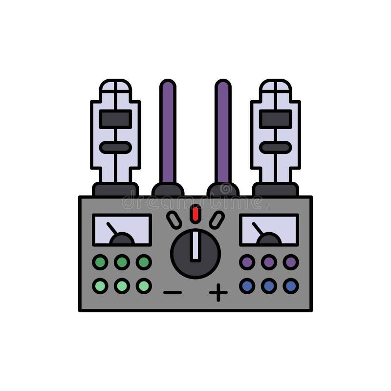 Amplificador, ícone audio, audiophile Elemento do ícone do equipamento do estúdio da música da cor Ícone superior do projeto gráf ilustração stock