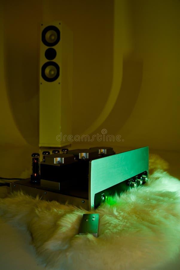 Amplificador e altofalante da torre fotografia de stock