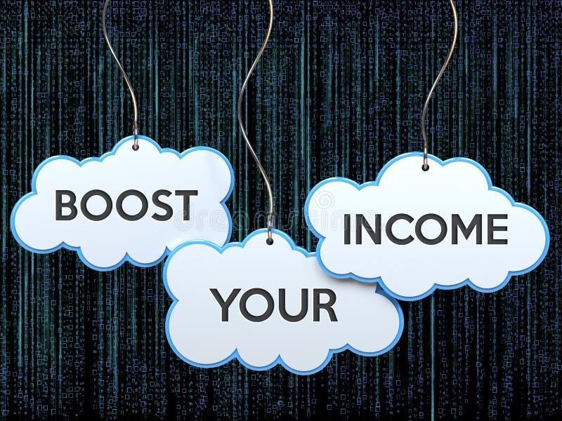 Amplifichi il vostro reddito sull'insegna della nuvola illustrazione di stock