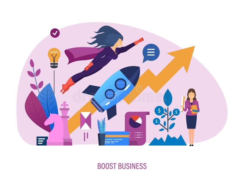 Amplifichi l'affare Sistema di appoggio di sviluppo di affari, incentivi per il raggiungimento degli scopi illustrazione vettoriale
