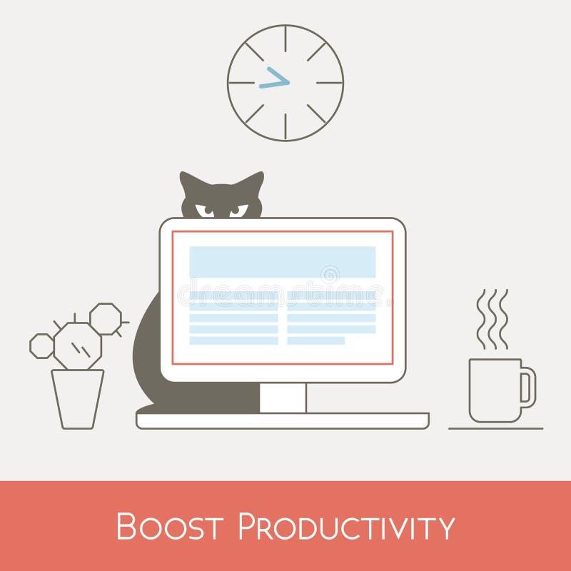 Amplifiez la productivité du travail à l'ordinateur de bureau, ligne illustration de vecteur illustration de vecteur