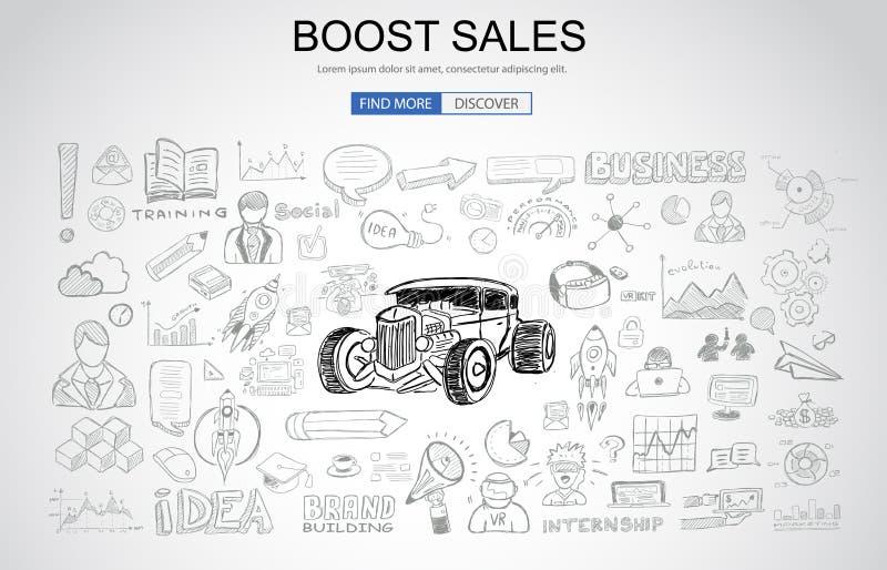 Amplifiez le concept de ventes avec le style de conception de griffonnage d'affaires : Ca en ligne illustration libre de droits