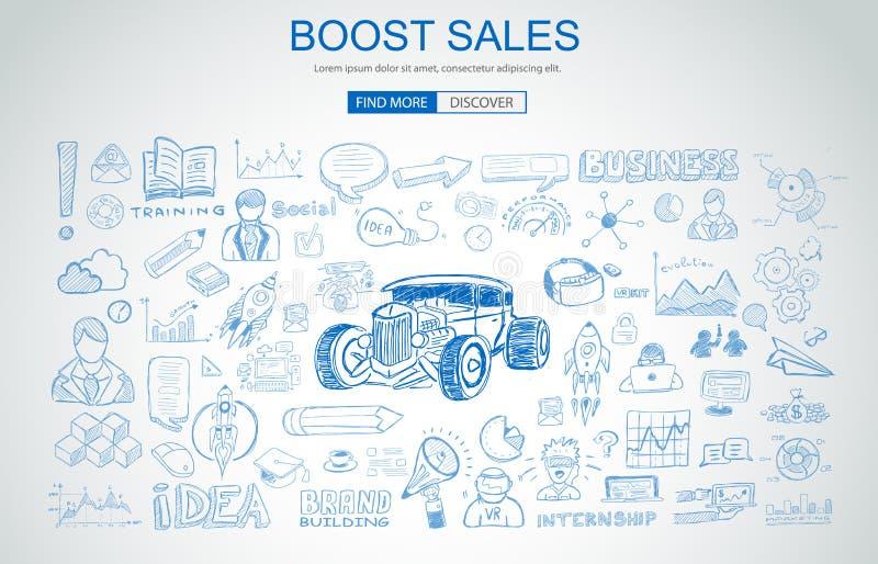 Amplifiez le concept de ventes avec le style de conception de griffonnage d'affaires : Ca en ligne illustration de vecteur