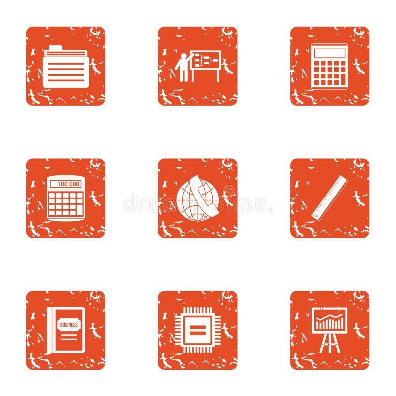 Amplifiez les icônes d'économie réglées, style grunge illustration stock