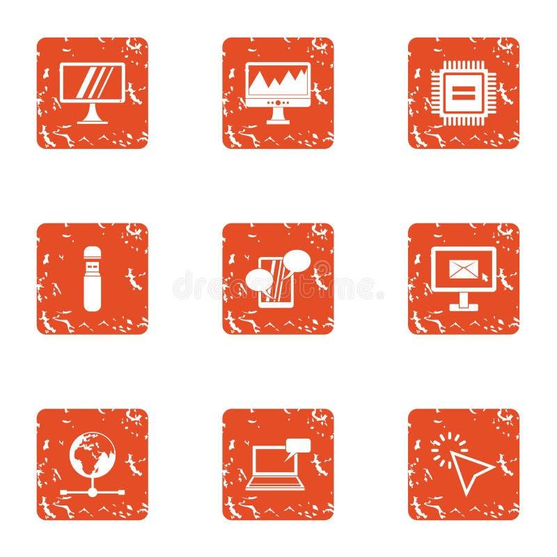 Amplifiez les icônes réglées, style grunge illustration stock