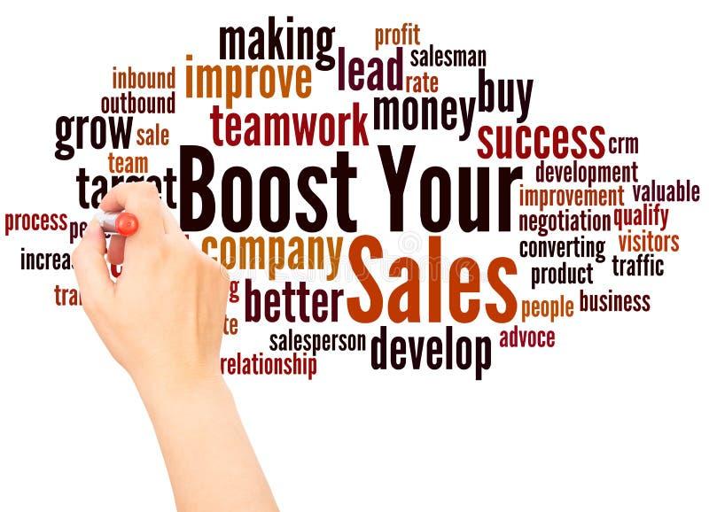 Amplifiez votre main de nuage de mot de ventes écrivant le concept illustration stock