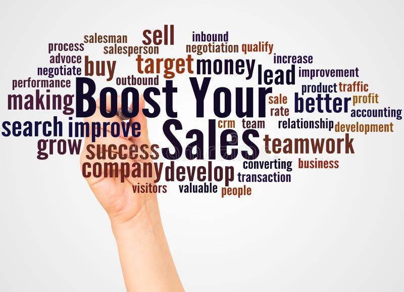 Amplifiez votre nuage et main de mot de ventes avec le concept de marqueur illustration de vecteur