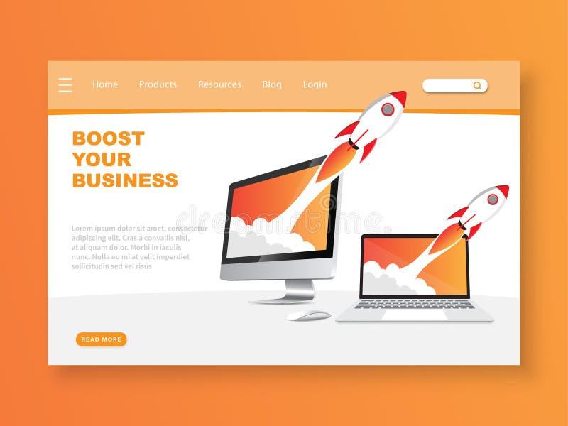 Amplifiez votre page d'atterrissage d'affaires illustration de vecteur