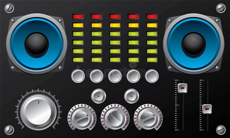 amplifikator kontroluje wyrównywacz ilustracja wektor