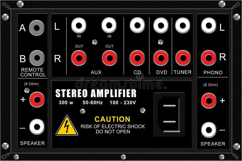 amplifikatoru podłączeniowy panelu stereo royalty ilustracja