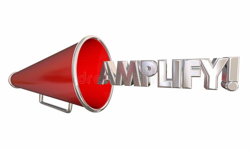 Amplifique el megáfono del megáfono consiguen un ejemplo más ruidoso de la palabra 3d stock de ilustración