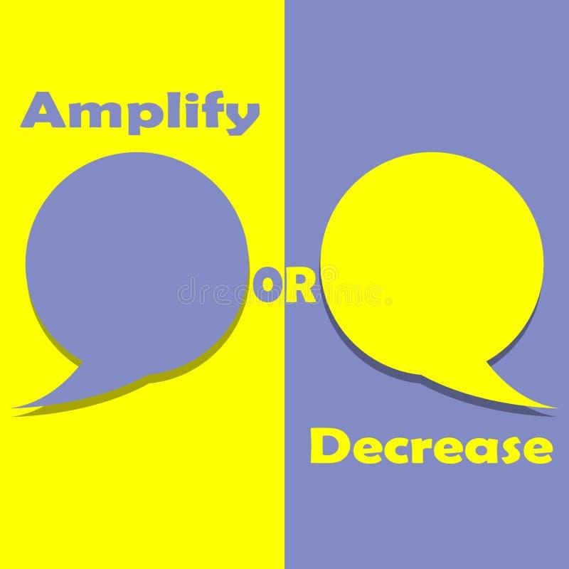 Amplifique o disminuya en palabra en la motivación de la educación, de la inspiración y del negocio ilustración del vector
