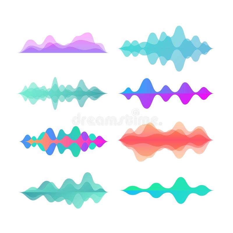 Amplitude color motion waves. Abstract electronic music sound voice wave vector set royalty free illustration