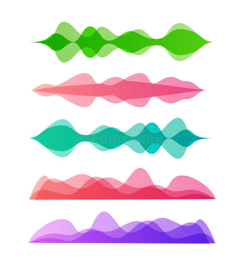 Amplitude colorful motion waves. Abstract equalizer music sound voice wave vector set. Digital graph royalty free illustration
