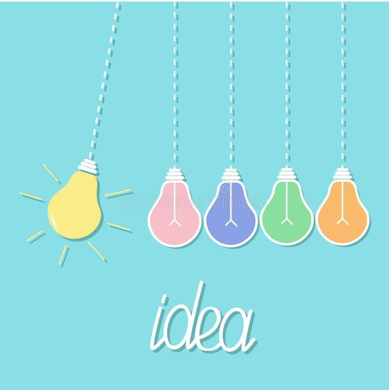Ampola amarela colorida de suspensão Ligue fora da lâmpada Movimento perpétuo Linha do traço Conceito da idéia Projeto liso Backg ilustração stock