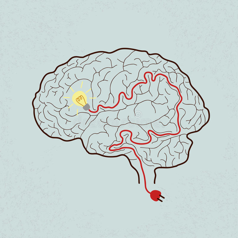 Ampola Brain Idea para ideias ou inspiração ilustração royalty free