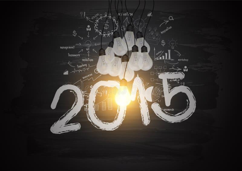 A ampola brilhante do vetor ilumina o número 2015 no quadro-negro ilustração do vetor