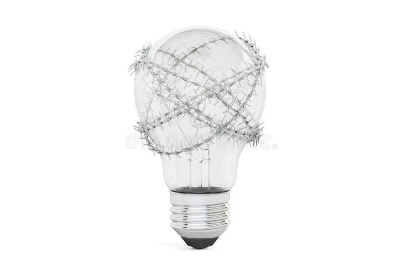 Ampola com arame farpado Liberdade de conceito da proibição da ideia, ilustração royalty free