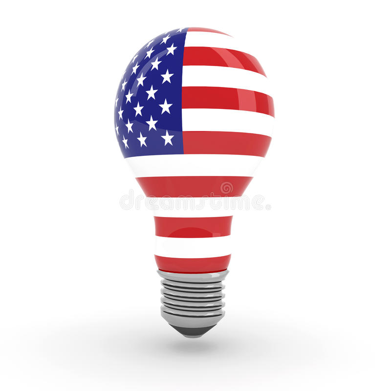 Ampola com bandeira americana ilustração royalty free