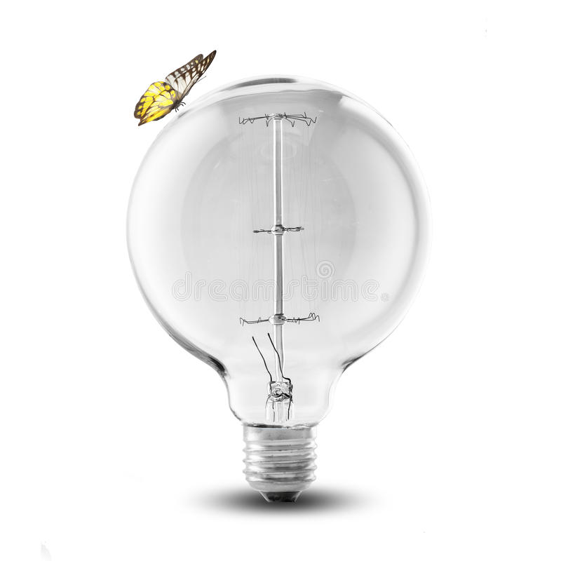 Ampola com borboleta imagens de stock royalty free