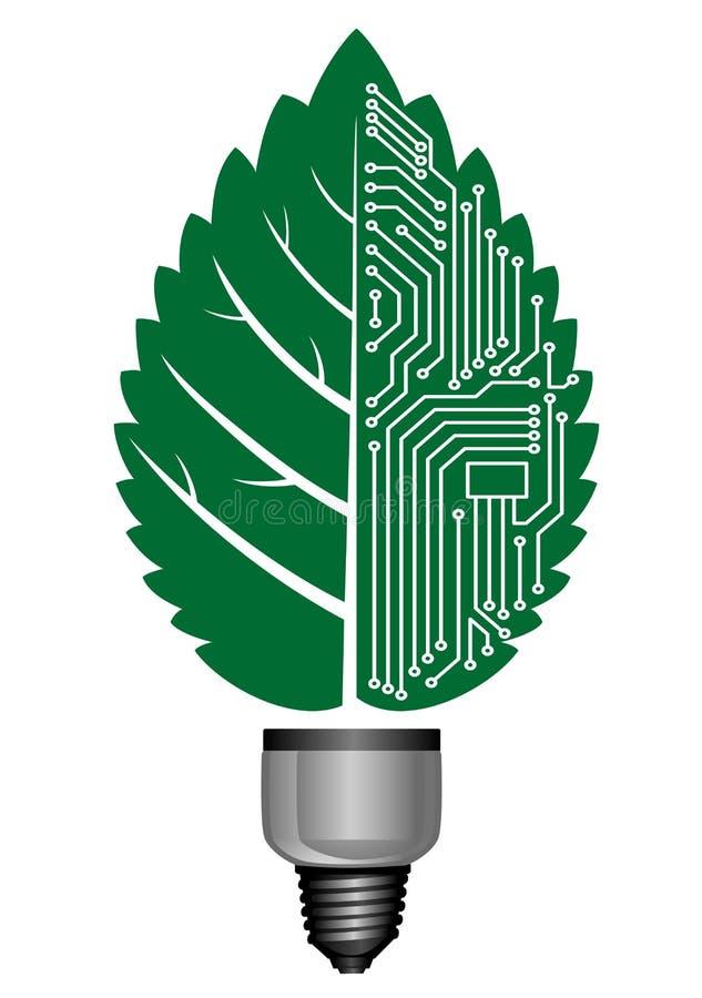 Ampola com elementos do computador ilustração royalty free