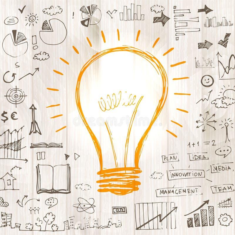 Ampola com estratégia do sucesso comercial do desenho ilustração stock
